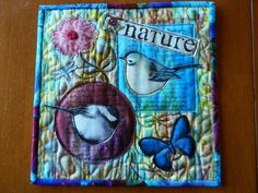 Art Quilt Fiber Collage Quilted Wall Hanging, Fabric Collage, Nature Theme Fabric Collage