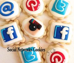 Social Networks Decorated Cookies by OneCakeaDay on Etsy