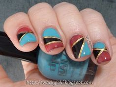 Color blocking with gold striping tape - blend of fall shades of dusty red-plum with black cream and a clear bright turquoise from spring/summer...works well - reminds me of some of the southwestern Am. Indian inlay turquoise, onyx and sugilite pendents and rings.