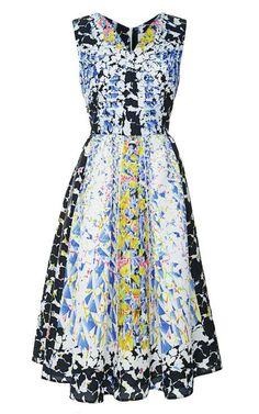 RH Printed Cloqué V-Neck Dress by Peter Pilotto Now Available on Moda Operandi