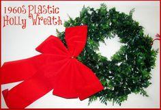 Vintage 16 Inch Plastic Christmas Holly Wreath by GrammysGoodys, $12.95