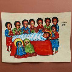 Ethiopian Religious Coptic Leather Painting Handpainted. DEATH OF JESUS CHRIST.