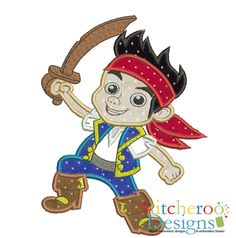 Jake The Pirate applique embroidery set by Stitcheroo Designs
