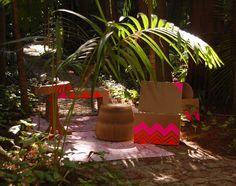 Cardboard furniture give charm to the garden. #sustainable #decor #interior #design #casadevalentina