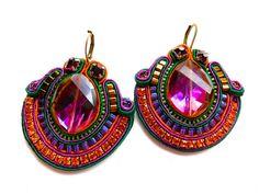 SONORAN CARNIVAL soutache earrings in purple, green and orange