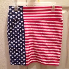 Large American Flag Stretch Skirt Never been worn! Still has tags! Perfect condition! Great for the summer! Charlotte Russe Skirts Midi