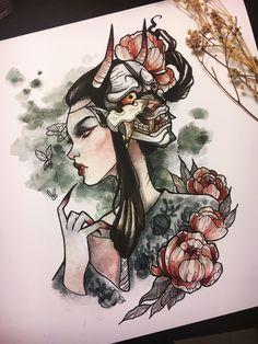 🖤🖤🖤 We adore this beautiful, Japanese-style artwork by Japanese Tattoo Designs, Japanese Tattoo Art, Tattoo Drawings, Body Art Tattoos, Art Drawings, Tatoo Geek, Geisha Art, Geisha Drawing, Arte Grunge