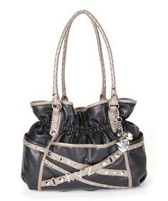 Black Monogram Belted Shopper Tote by Kathy Van Zeeland Kathy Van Zeeland baebb2bdcb4bd