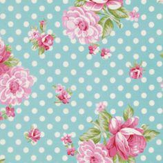 Rosey, Mums and Roses, Teal  EXKLUSIV von Rosenstoffe Shop auf DaWanda.com