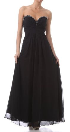 Long Prom Dress Black Strapless Beading Sweetheart Chiffon Layer Gown 149,99$