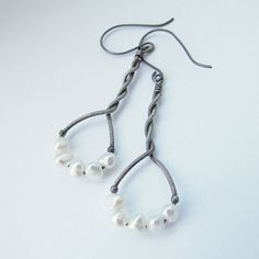 wire wrapped silver earrings - pride and prejudice
