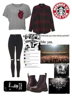 """""""The 5SOS FAM is my family❤"""" by that-1-awkward-friend1234 ❤ liked on Polyvore featuring Monki, Topshop and Dr. Martens"""