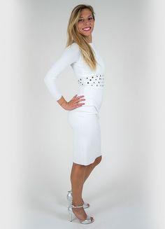 Colore: Bianco Abito a tubino in tessuto jersey stretch.