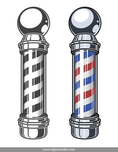 Vintage barber poles in color and monochrome style. Click to the link to find more barbershop elements, badges, emblems and designs. #vectorillustration #vector#illustration #design #dgimstudio #barber #barbershop #barberpole #hairdresser Barber Shop Pole, Best Barber Shop, Barber Shop Interior, Barber Shop Decor, Shop Interior Design, Cafe Design, Barber Tattoo, Barber Logo, Barber Man