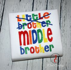 "Big Brother Shirt - Middle Brother, Big Brother T Shirt, Big Brother Gift, Big Brother Announcement, Sibling Outfits, Big Brother Little by jcoolcreations on Etsy <a href=""https://www.etsy.com/listing/215693680/big-brother-shirt-middle-brother-big"" rel=""nofollow"" target=""_blank"">www.etsy.com/...</a>"