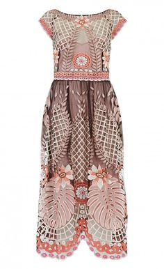 Midi Belle Dress | Designer Dress | Temperley London - An iconic Temperley style reimagined for the Havana-inspired Summer '16 collection, the Midi Belle Dress embodies a joyful, ultra-feminine mood. Sheer with stunning tropical embroidery, this cocktail dress features a bateau neckline, low back, cap sleeves, an A-line waist and a scalloped hem. Accessorise with the matching dinner scarf for a bohemian edge. - Composition: 100% Nylon; Lining 95% Silk 5% Elastane- Fit: A waisted tul...