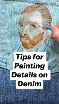 Simple Acrylic Paintings, Acrylic Painting Techniques, Painting Tips, Fabric Painting, Art Techniques, Painted Clothes, Painted Shoes, Painted Jeans, Easter Nail Art