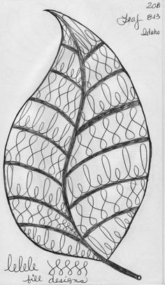 More Leaf Designs from My Quilting Sketch Book. This leaf has no vein sections. instead each half of the leaf is filled in with 2 different curl patterns. This leaf has veins. each sepa Zentangle Drawings, Zentangle Patterns, Doodle Drawings, Zentangles, Doodle Art, Quilt Patterns, Feather Design, Leaf Design, Longarm Quilting