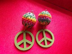 Peace Sign Earrings Crochet Bead Rainbow Colors