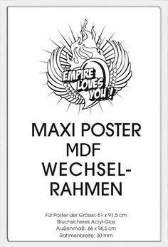 Empire 394682 Wechselrahmen für Maxi-Poster der Grösse 61 x 91.5 cm aus schwerem MDF Holzfaserwerkstoff. Aussenmaß 96.4 x 65.8 cm - weiss, 30 mm Profil mit Acrylglas von Empire Merchandising GmbH Consignment, http://www.amazon.de/dp/B0056N861Q/ref=cm_sw_r_pi_dp_FHaZrb0PMSM1J
