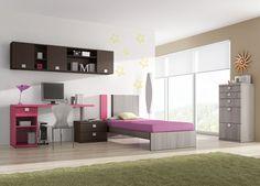 Actual dormitorio juvenil de lineas modernas. La mesa de estudio a juego con el cabezal le dan un toque original a la composición.  Medida de largo total: 280cms