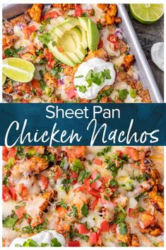 Nachos are great for feeding a crowd! This Tequila Lime Baked Chicken Nachos recipe is just AMAZING! These easy sheet pan nachos are so delicious, and perfect for any occasion. via Nachos are great for feeding a crowd! This Tequila Top Recipes, Mexican Food Recipes, Cooking Recipes, Healthy Recipes, Pizza Recipes, Nacho Recipes, Healthy Nachos, Skillet Recipes, Cooking Gadgets