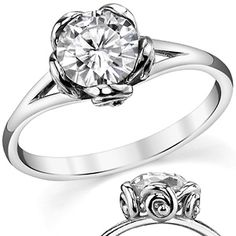 Round Moissanite Split Shank Floral Solitaire Ring