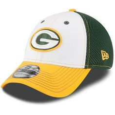 Green Bay Packers New Era White NFL White Front Neo 39THIRTY Flex Hat Green  Bay Packers 3724d812f1d2