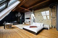 Starkes Design! #Metall #Badewanne #Schlafzimmer #Traum #romantik #Living home #apartment #design #loft