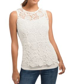 Love this White Needle Lace Shell Top by cabi on #zulily! #zulilyfinds