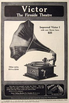 1908 Victor I Talking Machine Ad ~ New Flower Horn