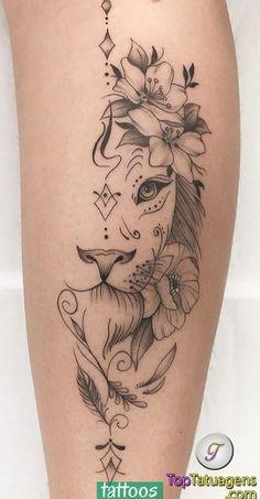 70 female and male lion tattoos TopTattoos, # … Piercing - tattoo feminina Girly Tattoos, Leg Tattoos Small, Leg Tattoos Women, Top Tattoos, Tattoos For Women Small, Unique Tattoos, Small Meaningful Tattoos, Body Art Tattoos, Beautiful Tattoos
