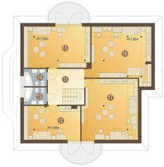 Rzut poddasza projektu Kraska z garażem 2-st. [A] Modern House Design, Home Fashion, House Plans, Floor Plans, How To Plan, House Styles, Concept, Two Story Houses, Home Plans