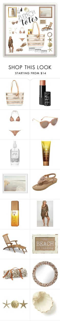 """Beach Tote Presentation"" by mcronald-denise ❤ liked on Polyvore featuring Loeffler Randall, NARS Cosmetics, ELIZABETH HURLEY beach, Illesteva, Alterna, Kitten, Skagerak, Collins, Maslin & Co. and Universal Lighting and Decor"