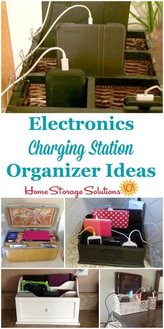 Lots of electronics charging station organizer ideas for your home, to charge all kinds of electronic devices from phones, tablets, portable games, GPS devices and more, and hide those cords! {on Home Storage Solutions 101}