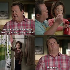 I coddle her more than any other parent? Modern Family Funny, Modern Family Quotes, Morden Family, Fictional World, Movie Lines, Funny Video Memes, Best Series, Tumblr Funny, Coddle