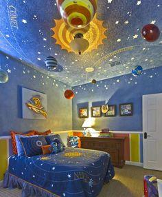 Simple Sonnensystem Karte an der Decke im Kinderzimmer f r Jungen