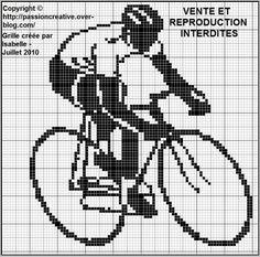 Grille gratuite point de croix : Cycliste vélo