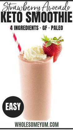 Strawberry Avocado Smoothie, Fruit Smoothies, Protein Smoothies, Avocado Salad, Avocado Toast, Smoothie Vert, Keto Smoothie Recipes, Keto Recipes, Lunch Recipes