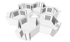 """Programmer Jamie Zawinski has created a digital rendering of the infinite, hexagonal library that is the subject and setting of Jorge Luis Borges's short story """"The Library of Babel. Concept Models Architecture, Architecture Plan, Architecture Diagrams, Architecture Portfolio, The Library Of Babel, Hexagon House, Library Plan, Shelter Design, Modular Homes"""