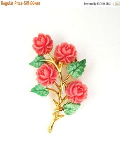 ON SALE NOW     Vintage JJ Celluloid Coral Roses and Green Leaves Gold Tone Brooch Pin. The Roses and Leaves are beautifully detailed.  The