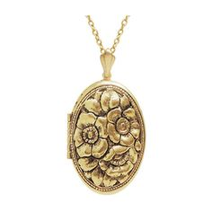 """1 1/8 x 1 1/4"""" Oval Locket with Embossed Victorian Dogwood Floral... ($30) ❤ liked on Polyvore featuring jewelry, pendants, victorian locket, floral jewelry, locket jewelry, oval locket and victorian jewelry"""