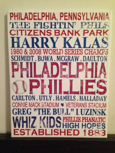 Subway Art Philadelphia Phillies Rustic Looking Canvas Sign. by CreationsbyCLM on Etsy, $30.00