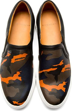Givenchy: Black Navy Leather Camo Slip-On Shoes