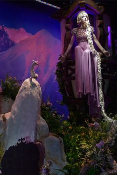 """Rapunzel by Jenny Packham Harrods - """"A magical dress in pale grey adorned with incredible beading that should never be locked away."""" The Harrods Christmas display of designer interpretations of Disney princess gowns went to Christy's Auction House 2013 Disney Style, Disney Love, Disney Magic, Disney Art, Walt Disney, Disney Pins, Disney Princess Rapunzel, Disney Princess Dresses, Disney Princesses"""