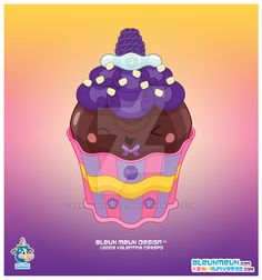 Kawaii Dark Chocolate Cupcake by KawaiiUniverseStudio.deviantart.com on @DeviantArt