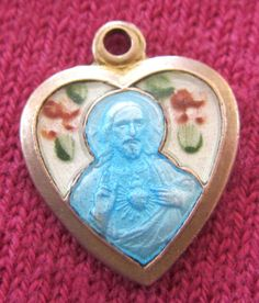 Antique Catholic Religious Holy Medal SAVIOUR - GUILLOCHE - ENAMEL - SACRED HEART $30