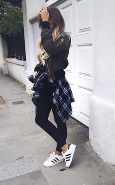 Cute outfit. Teen fashion. Fall fashion. Winter fashion. Flannel and leather jacket
