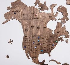 Rustic Brown Wood World Map with USA borders by WoodPecStudio. Travel push pin maps for wall office decor, bedroom and living room rustic decor, hallway decoration. World maps from wood for wall decor in farmhouse style. Push Pin World Map, World Map Wall Art, Map Wall Art, Anniversary Gift, Wooden Travel Push Pin Map, Housewarming Gift #mapwallart #nurserydecor #homedecorating