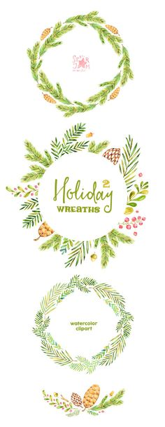 This Holiday Wreaths clipart set is just what you needed for the perfect invitations, christmas projects, paper products, party decorations, printable, greetings cards, posters, stationery, scrapbooking, stickers, t-shirts, baby clothes, web designs and much more.  ::::: DETAILS :::::  This collection includes: - 3 Wreaths in separate PNG files, transparent background and in JPG - 1 Arrangement in PNG files, transparent background and in JPG  300 dpi RGB…